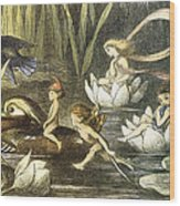 Fairies And Water Lilies Circa 1870 Wood Print
