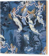 Fairies In The Moonlight French Textile Wood Print