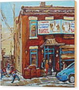 Fairmount Bagel In Winter Montreal City Scene Wood Print