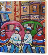 Fairmount Bagel Street Hockey Game Wood Print