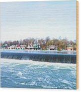 Fairmount Dam And Boathouse Row In Philadelphia Wood Print