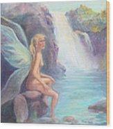 Fairy Of The Falls Morning Bath Wood Print by Gwen Carroll