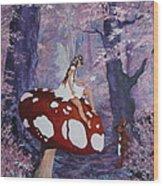 Fairy On A Mushroom Wood Print
