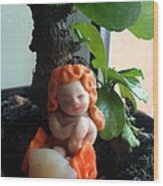 Fairy Puney Cuteness Wiseness Ooak Doll Doll House Wood Print by TriyaandNora Sculpts