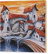 Fairy Tale City - Magic Stream Wood Print