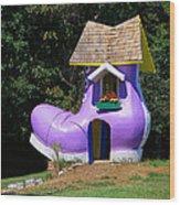 Fairy Tale Shoe House Wood Print