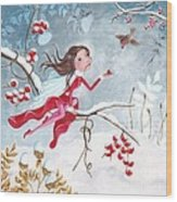Fairy With Berries Wood Print