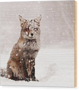 Fairytale Fox _ Red Fox In A Snow Storm Wood Print