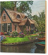 Fairytale House. Giethoorn. Venice Of The North Wood Print