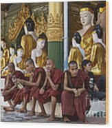 faithful Buddhist monks siiting around Buddha Statues in SHWEDAGON PAGODA Wood Print