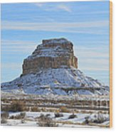 Fajada Butte In Snow Wood Print