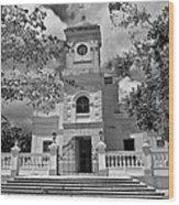 Fajardo Church And Plaza B W 3 Wood Print