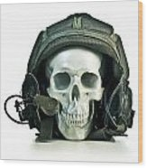 Fake Skull Wearing A Military Pilot Helmet Wood Print