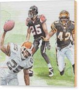 Falcons Bengals Football Watercolor Portrait Wood Print