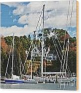 Fall And The Sailboats Wood Print