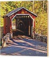 Fall At Kurtzs Mill Covered Bridge Wood Print