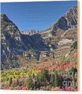 Fall At Mt. Timpanogos From Sundance - Utah  Wood Print