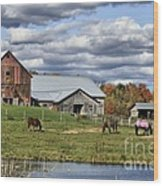 Fall At The Horse Farm Wood Print