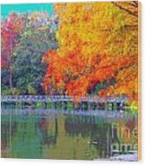 Fall At The Lake Wood Print