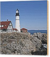 Fall At The Lighthouse Wood Print