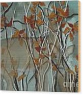 Fall Branches With Deer Wood Print