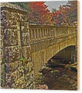 Fall Bridge Wood Print