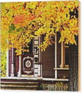 Fall Canopy Over Victorian Porch Wood Print