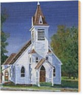 Fall Church Wood Print