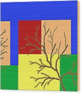 Fall Color Square With Tree Wood Print