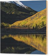 Fall Colors And Red Mountain Reflected Wood Print
