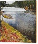 Fall Colors And Waterfalls Wood Print