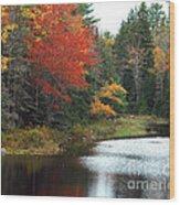 Fall Colors On A Lake Wood Print