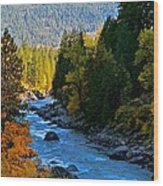 Fall Colors On The Wenatchee River Wood Print