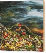 Fall Colors Stream Great Smoky Mountains Painted  Wood Print