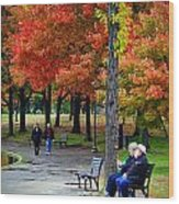 Fall Couples Wood Print