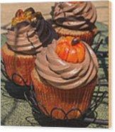Fall Cupcakes Wood Print