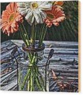 Fall Daisy Cheer Wood Print