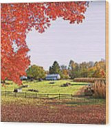 Fall Farm Wood Print