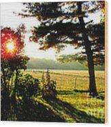 Fall Farm Sunrise 10 10 13 Wood Print