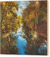 Fall Filtered Reflections Wood Print by Sylvia J Zarco