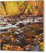 Fall Flow At Mcgee Creek Wood Print
