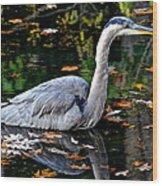 Fall Foliage And Fowl Wood Print