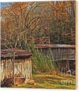 Fall Foliage At Meems Bottom Bridge Wood Print