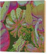 Fall Gourds Pinked Wood Print