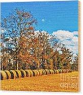 Fall Hayfield Wood Print