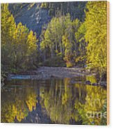 Autumn Reflections In Fort Mcmurray Wood Print