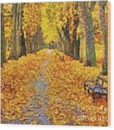 Fall In The Park Wood Print