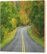Fall Is Coming Country Road Wood Print