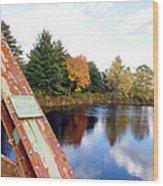 Fall Landscape Old Bridge Maine Wood Print