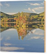 Fall Landscape On Flying Pond In Vienna Maine Wood Print